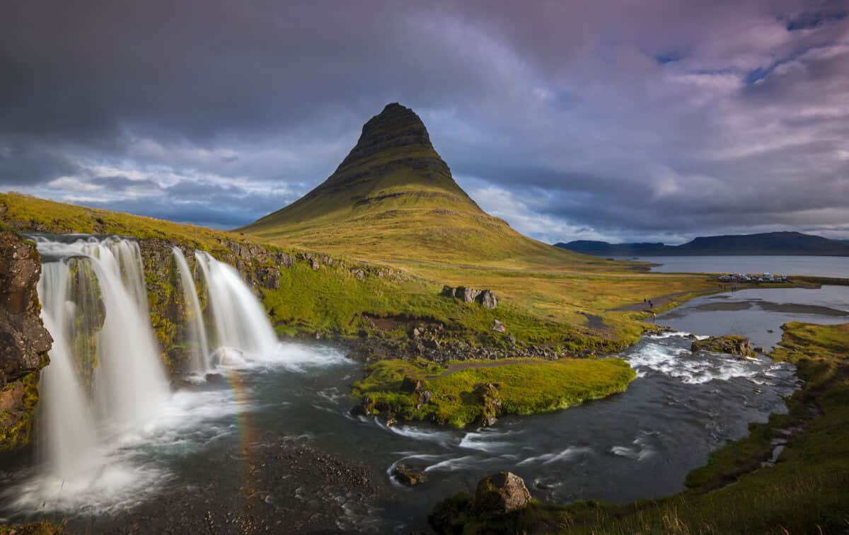 Kirkjufell mountain and Kirkjufellsfoss waterfall in Snaefellsnes peninsula