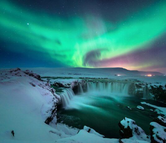 Beautiful Iceland Northern Lights at Godafoss waterfall
