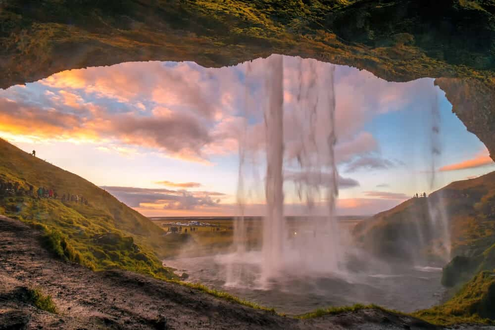 The view from behind: Seljalandsfoss has a cave which makes an excellent viewing spot
