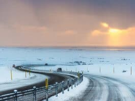 Beautiful winter sunset with Iceland driving tips