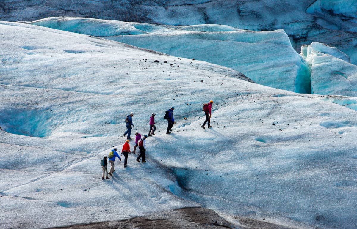 Group on glacier hike. It can be beautiful yet dangerous