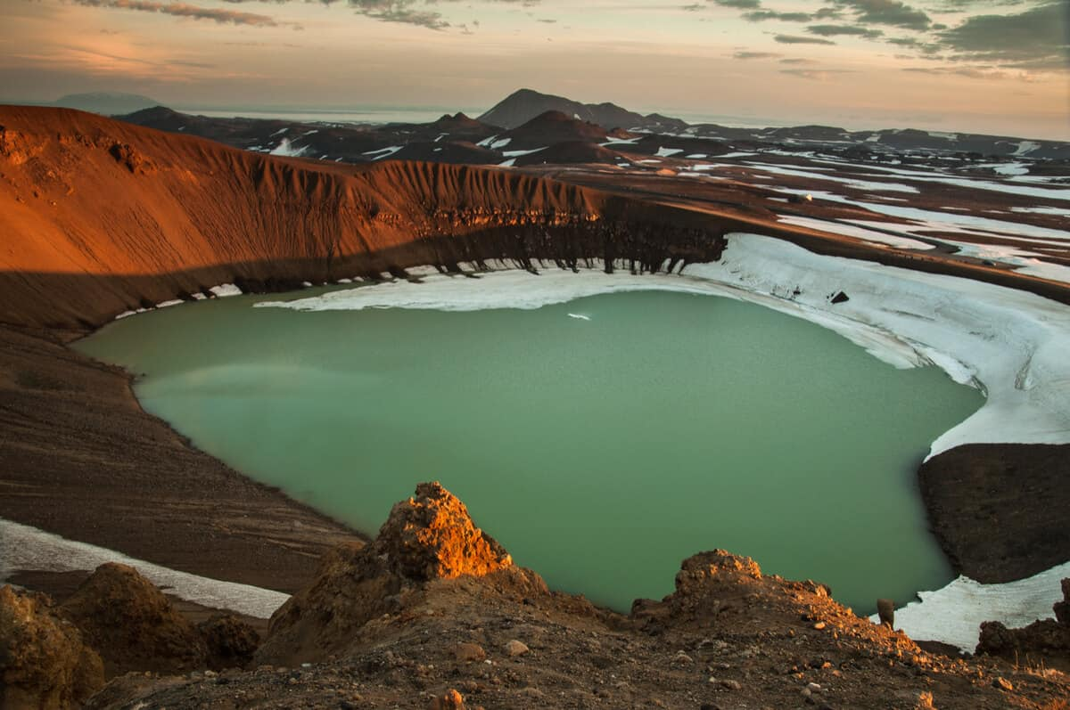 Askja volcano crater lake in Iceland