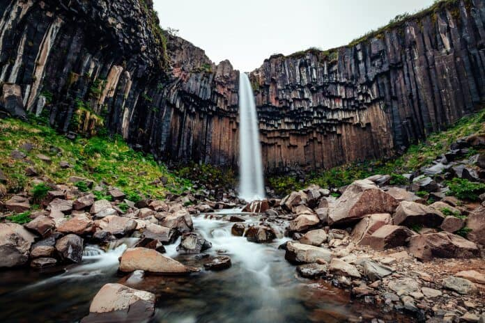 Svartifoss black waterfall in Iceland