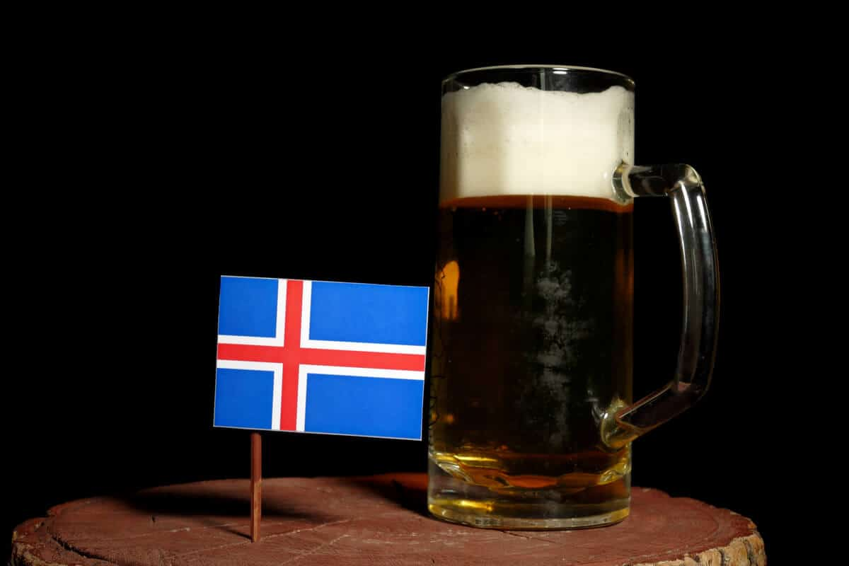 Icelandic flag next to beer