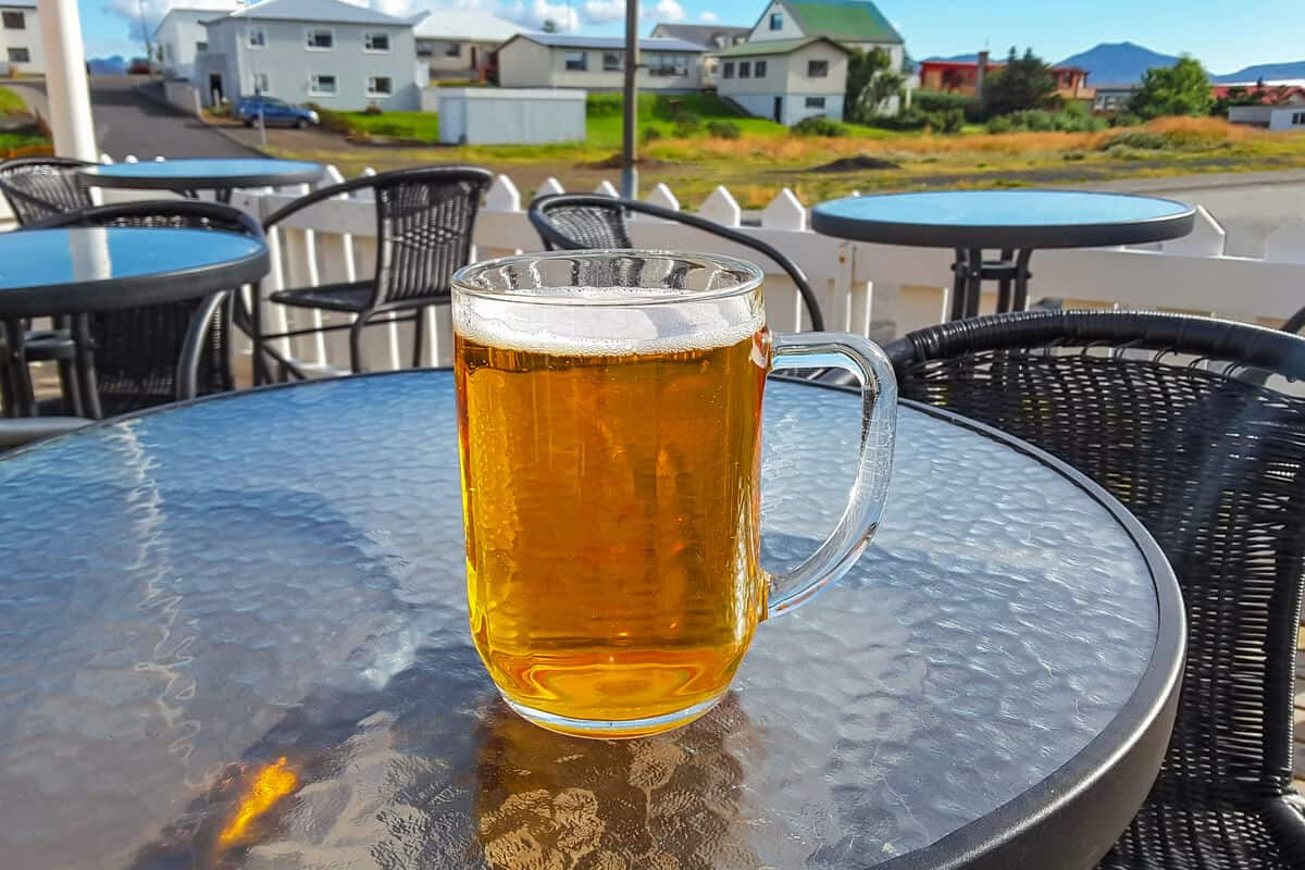 Large mug of Icelandic beer on a summer day