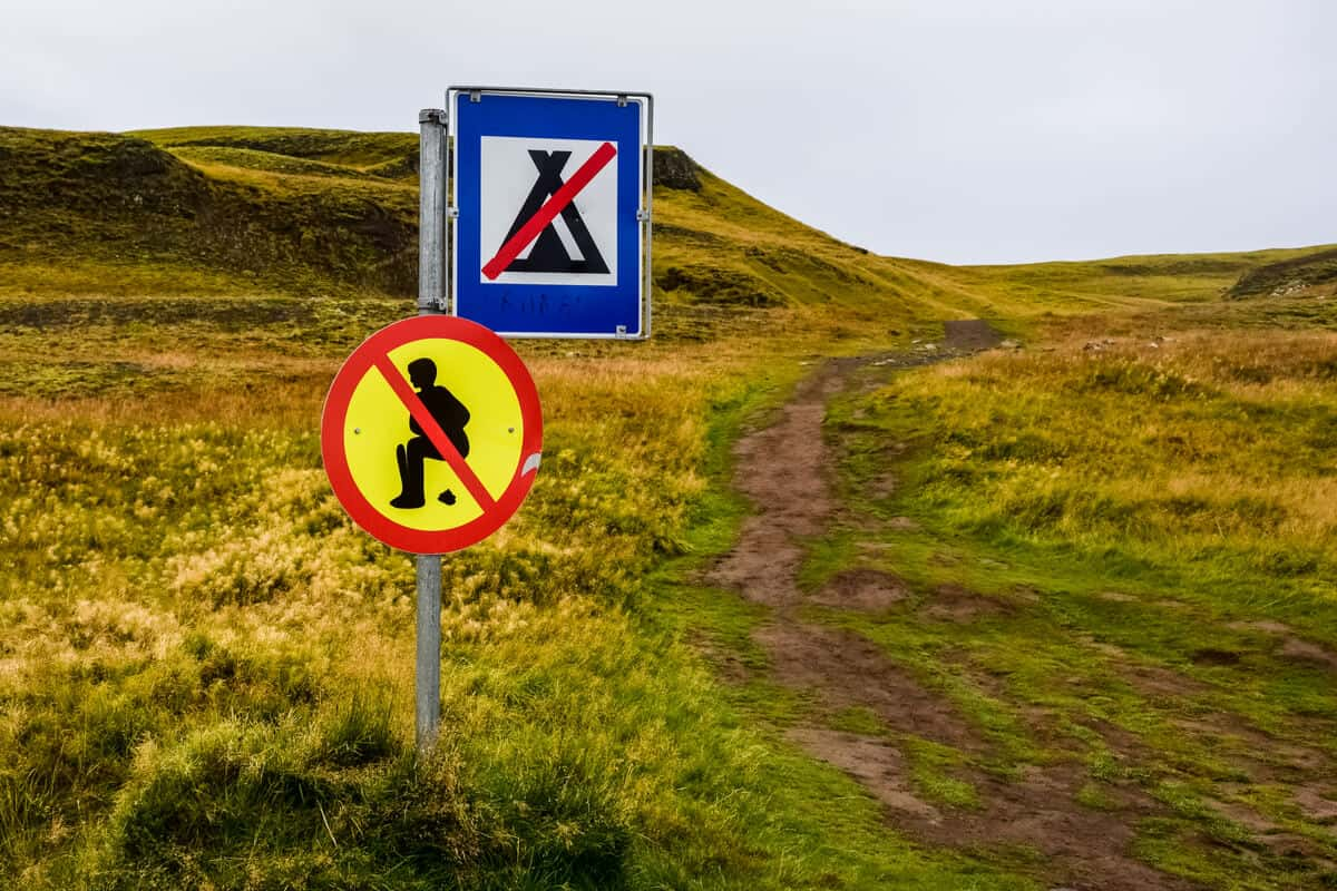 Public signs telling tourists what not to do in Iceland