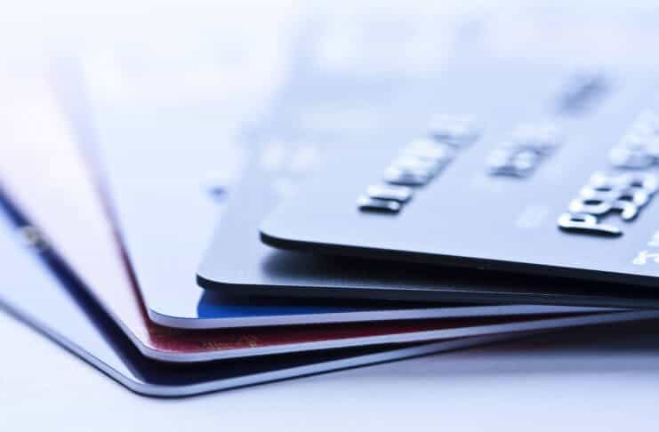 Stack of debit and credit cards in Iceland