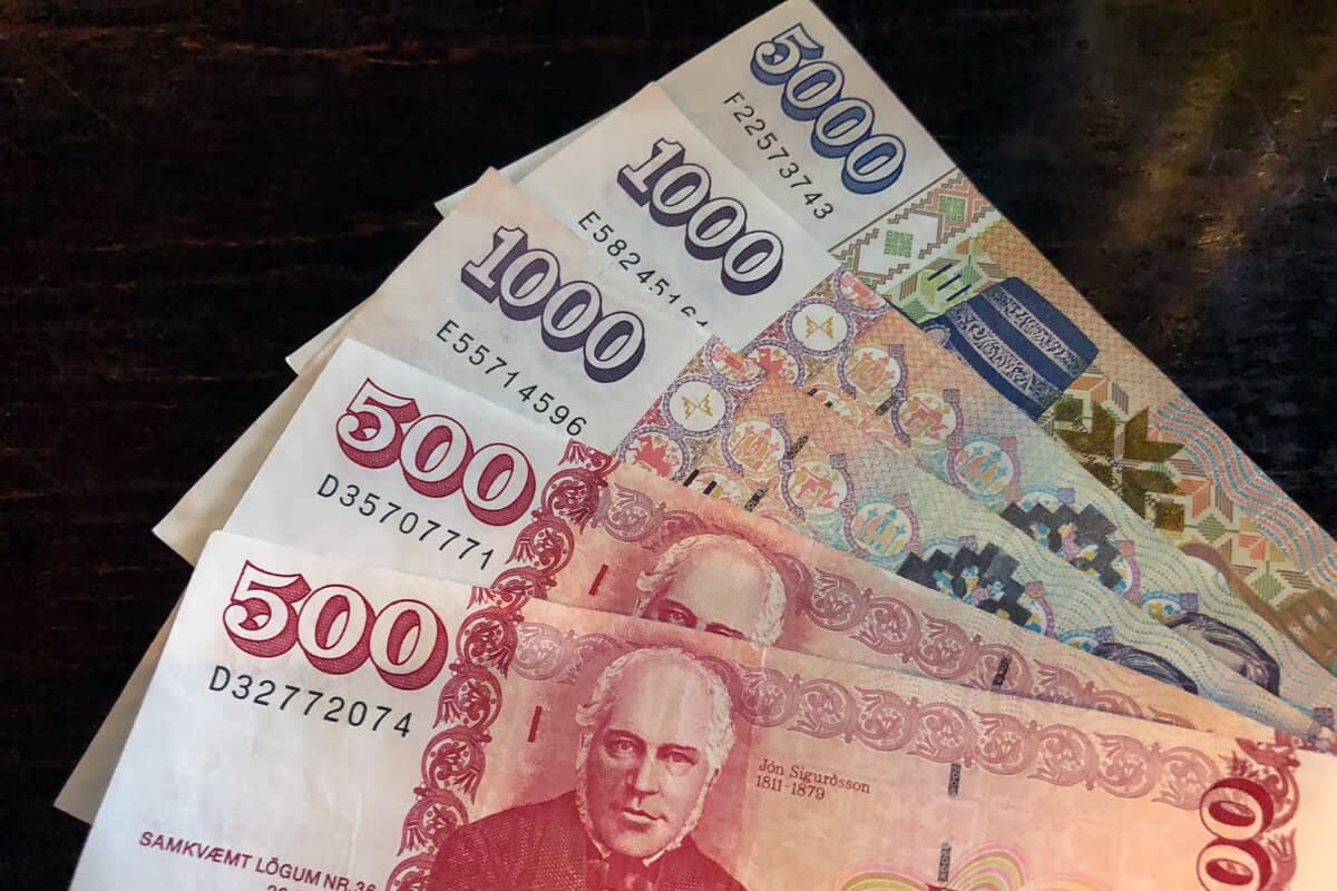Iceland currency various denominations of banknotes