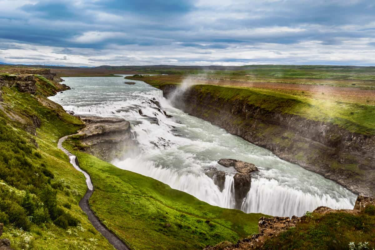 Golden Circle Iceland day tours go to Gullfoss waterfall