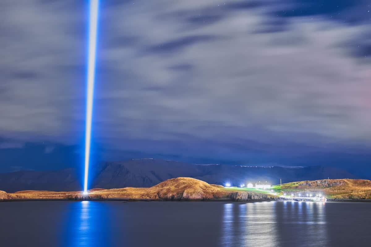 Imagine Peace Tower on Videy island, Iceland