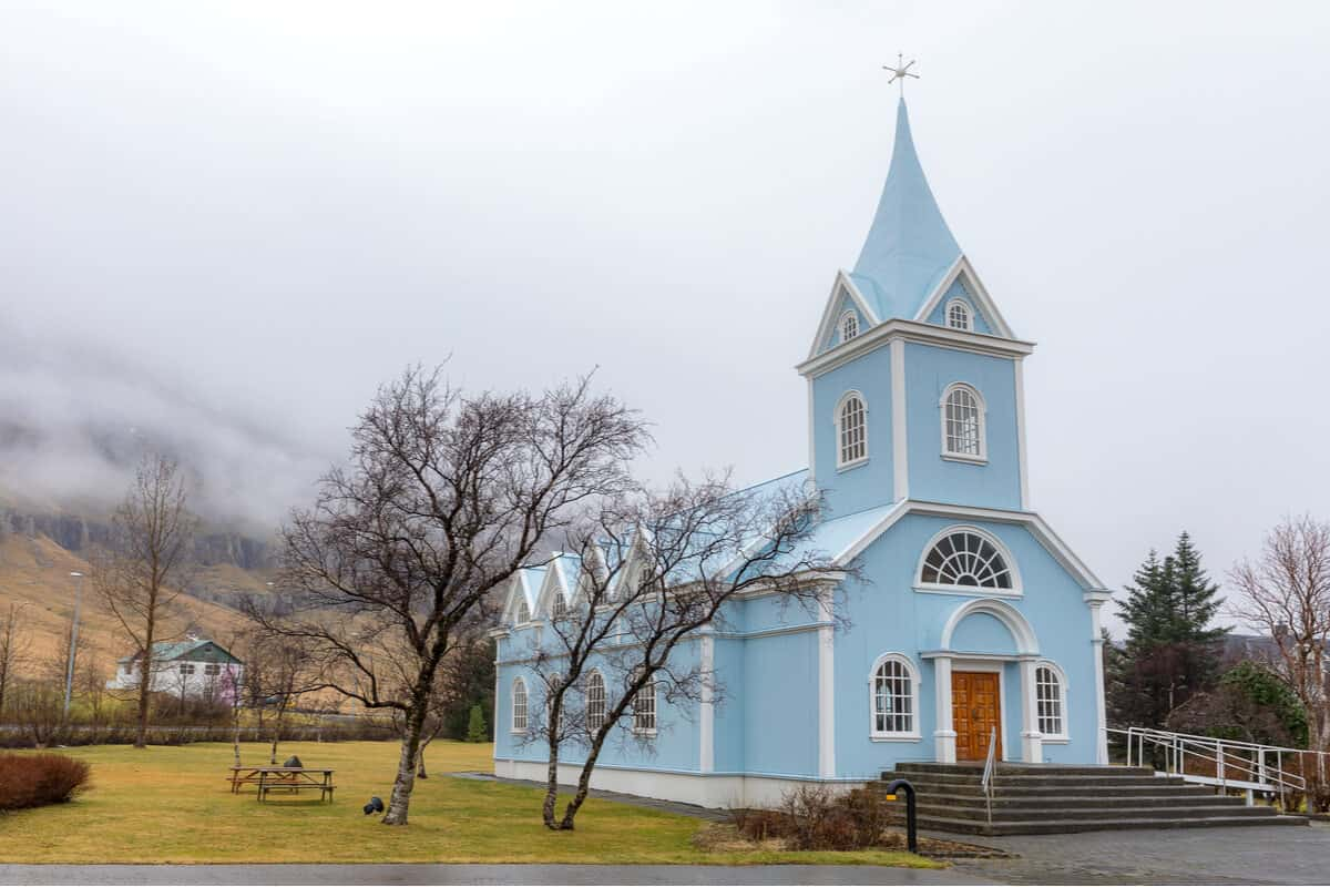 Prettiest churches in Iceland blue church