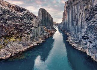 Stuðlagil canyon Iceland is a basalt column canyon