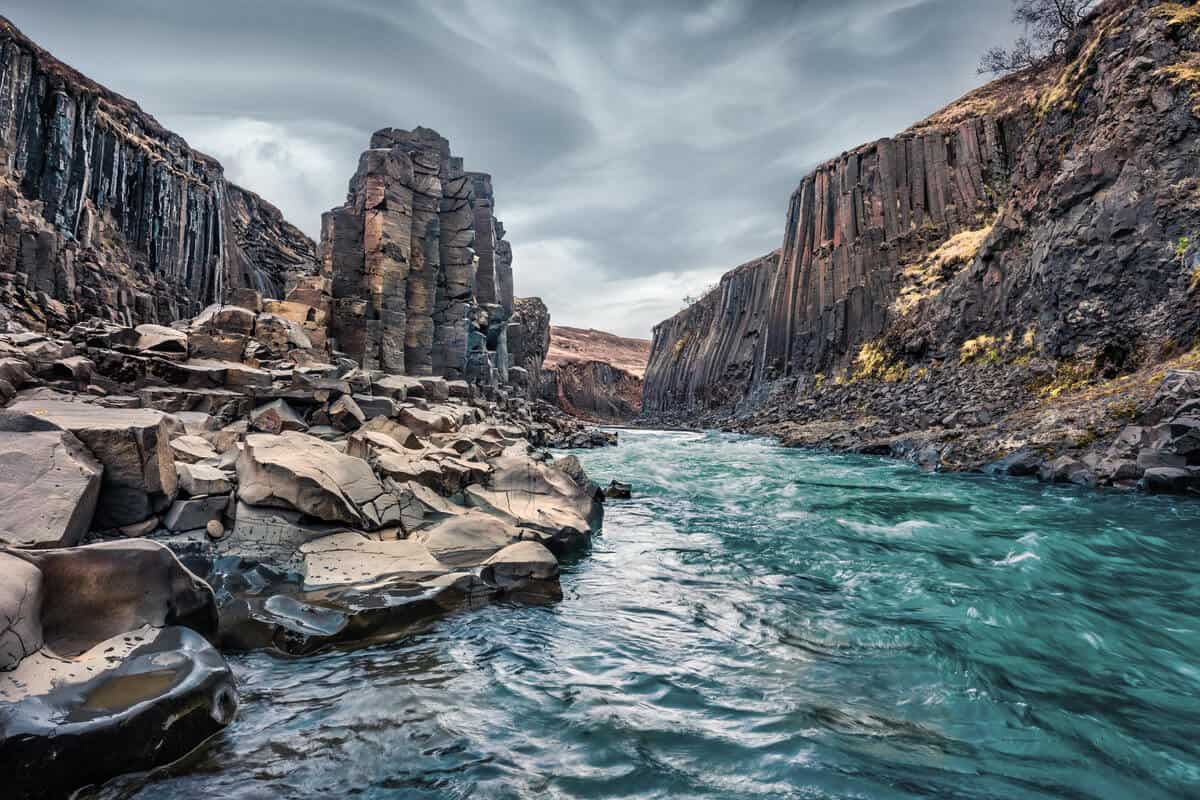 Stuðlagil canyon is a beautiful basalt canyon in Iceland