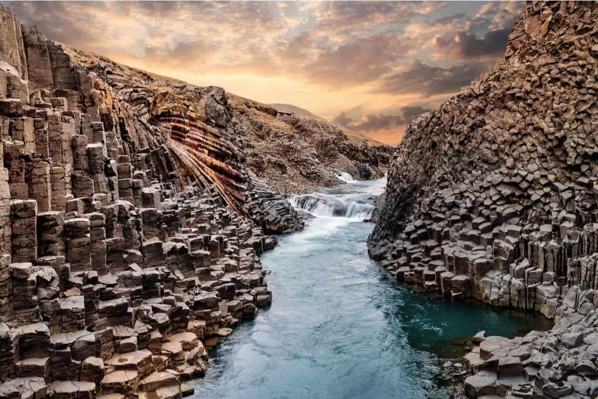 Stuðlagil canyon is basalt column canyon in Iceland
