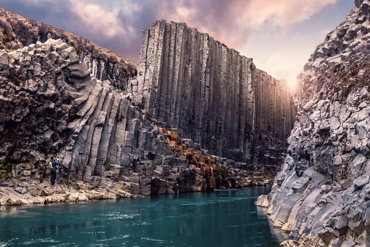 Stuðlagil canyon in Iceland has basalt columns