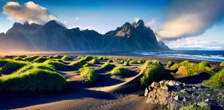 Black sand dunes on the Icelandic coast with Vestrahorn (Batman Mountain) in the background