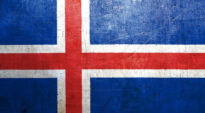 The Iceland flag representing its language and history