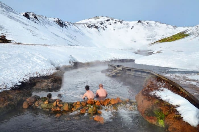 Two men having a bath in one of Iceland's geothermal baths