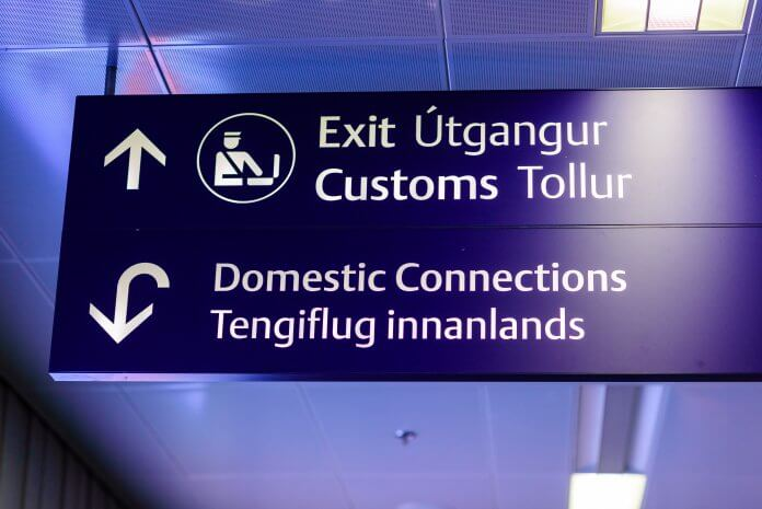 Airport signs in both Icelandic and English as Iceland is now a touristic destination