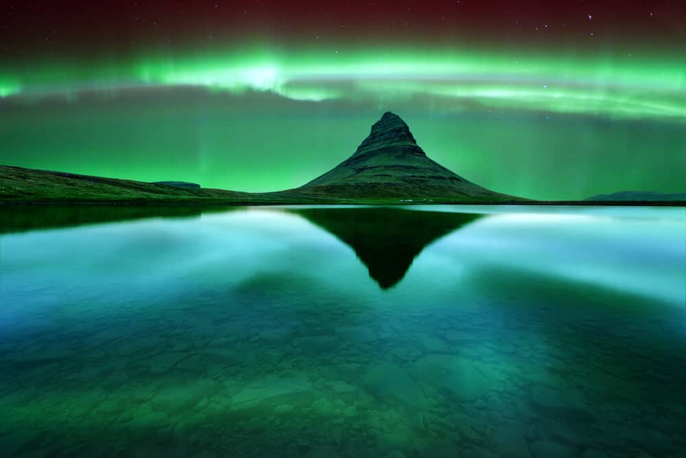 Iceland's Northern Lights with Kirkjufell mountain