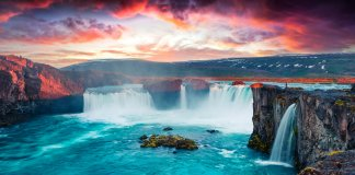 Godafoss waterfall is one of Iceland's top tourist destinations
