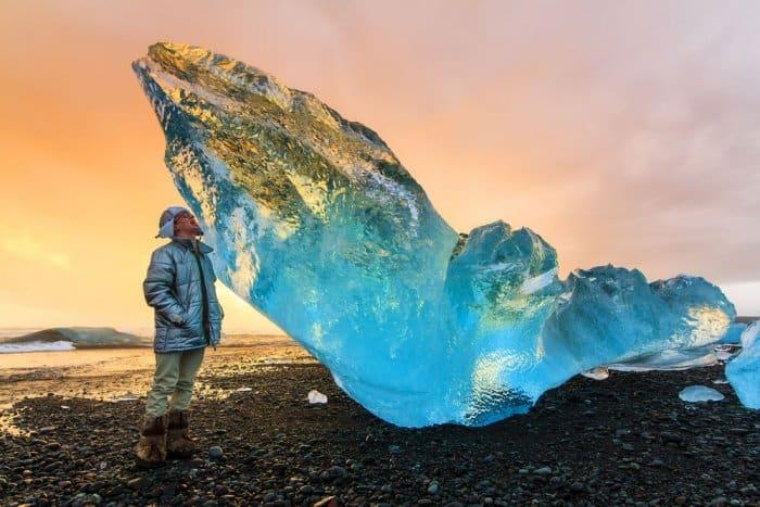 Chunk of ice in Jökulsárlón Glacier Lagoon