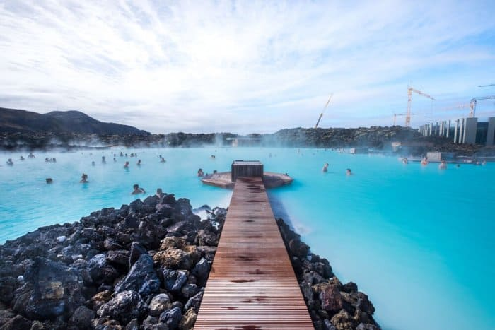 Walkway with volcanic rocks in Iceland's Blue Lagoon