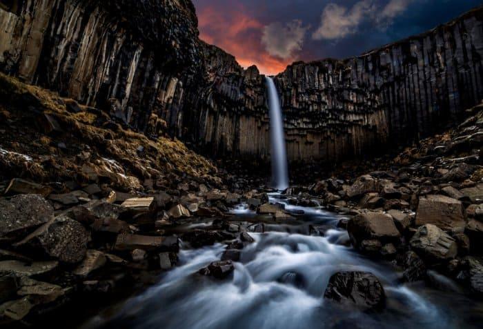 Svartifoss waterfall in Vatnajökull National Park
