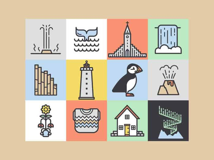 Selection of icons related to Iceland including puffins, whales, churches, Northern Lights