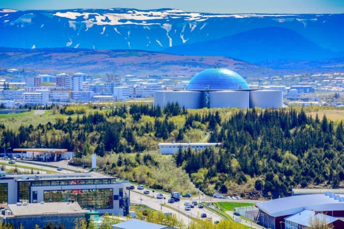 The Perlan dome with observational deck and planetarium in Reyjavik during 24 hour stop