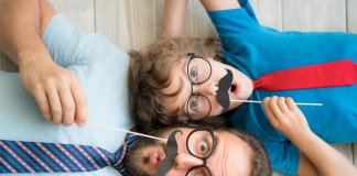 Man and boy with moustaches in Icelandic colors with funny and useful phrases