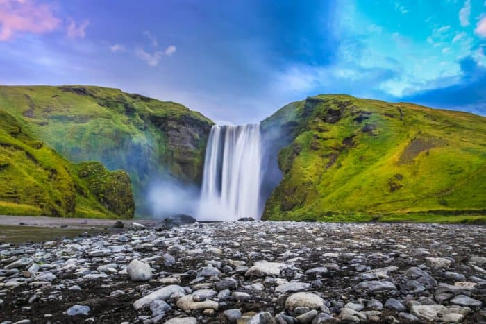 Skogafoss waterfall experiencing good weather in Iceland in September