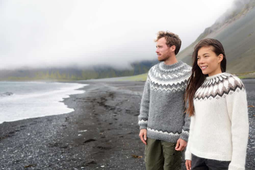 Keeping warm with traditional Lopapeysa wool sweaters. Iceland's weather in September can be chilly.