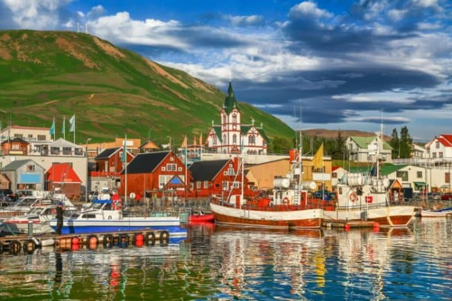 View from the bay of the whale watching town of Husavik in North Iceland
