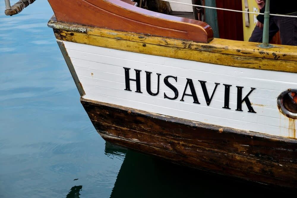 Whale watching boat in Husavik, North Iceland's Diamond Circle