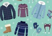Vector illustration of Winter clothing items for Iceland trip