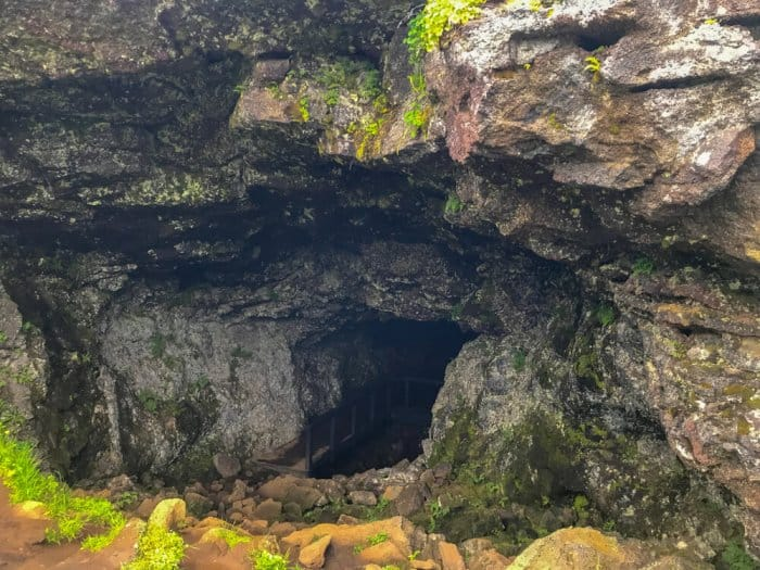 Entrance to the Vatnshellir lava cave that inspired Journey to the Center of the Earth