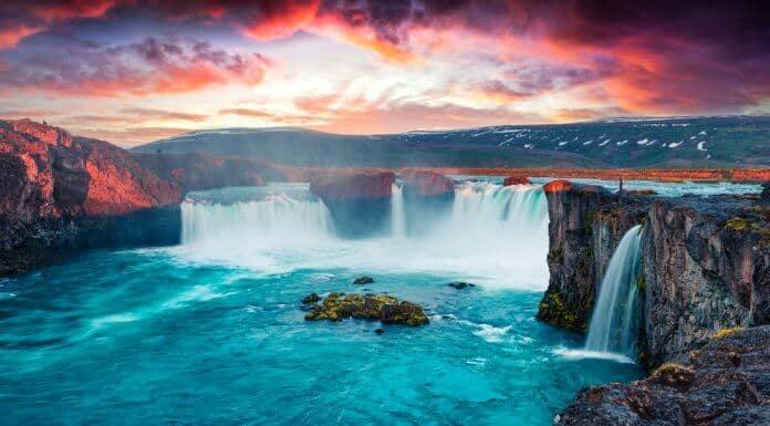 Icelandic Godafoss waterfall at sunset
