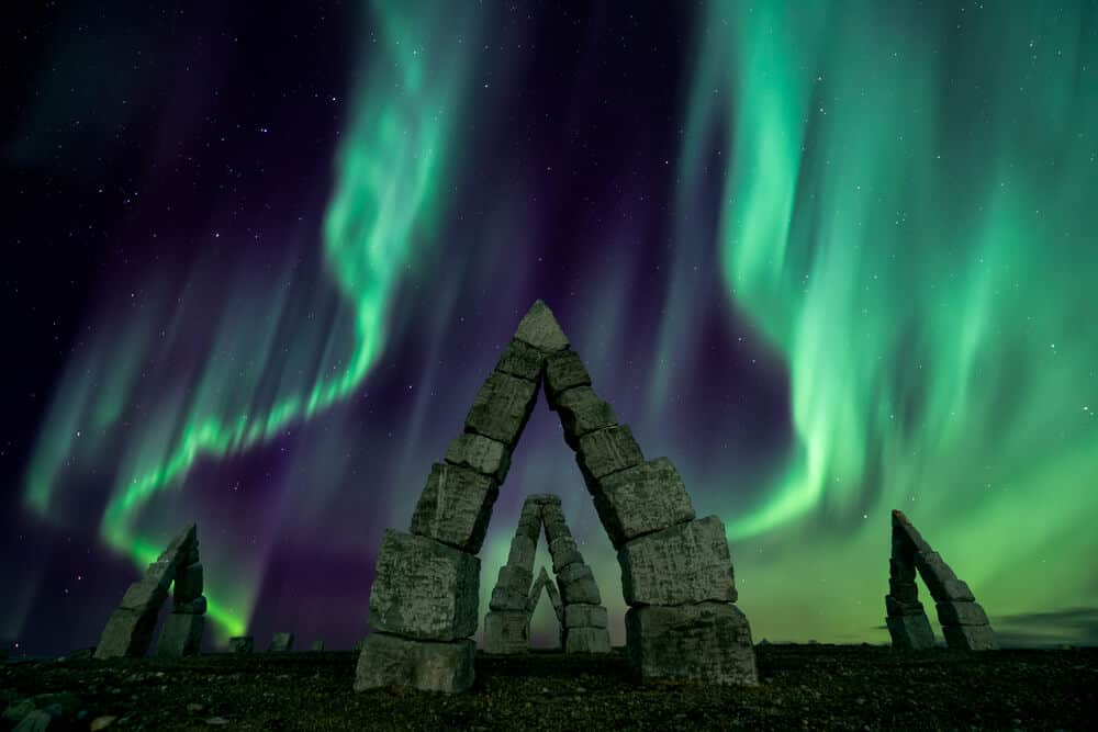 Arctic Henge with the Northern Lights in North Iceland