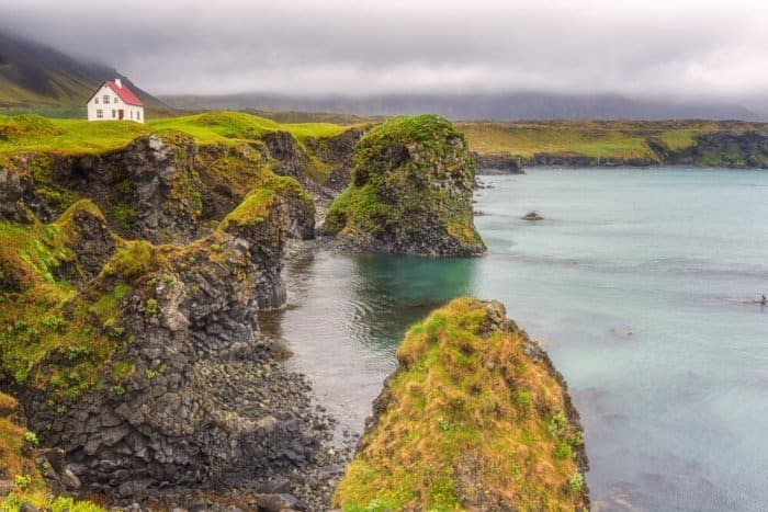 A house in Arnarstapi, a fishing village on the Snaefellsnes peninsula in West Iceland