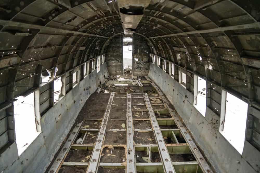 Interior of Sólheimasandur beach plane wreckage