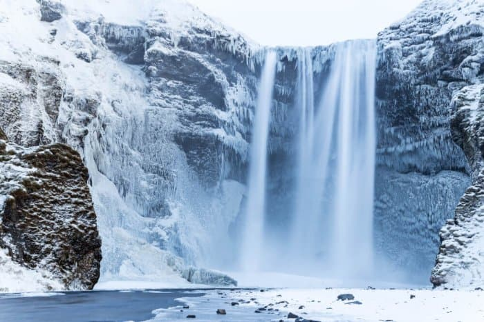 South Iceland's Skógafoss waterfall is one of its must-see attractions in winter