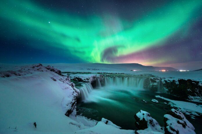 Beautiful Iceland Northern Lights at Godafoss waterfall