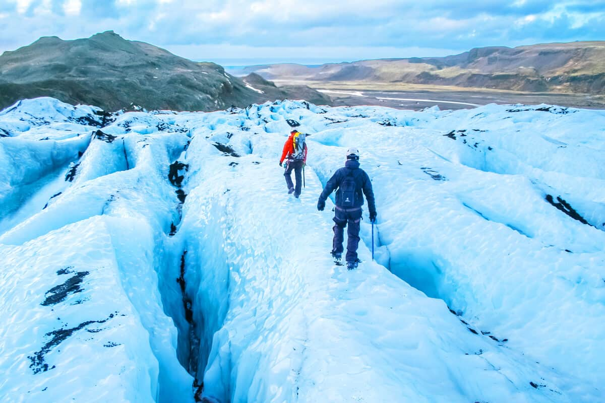 Hikers on the Blue Glacier in Iceland