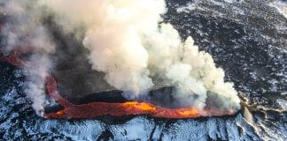 Eruption of a snowy volcano in Iceland