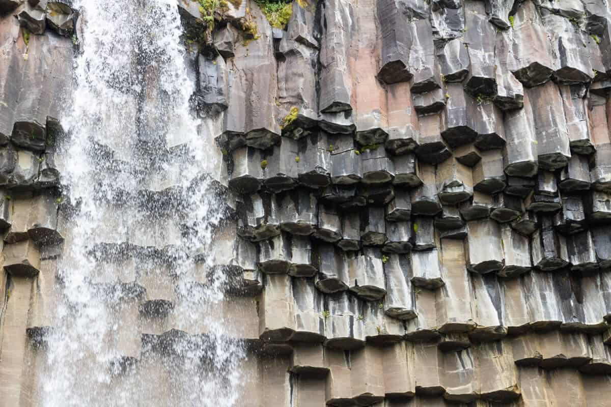 Basalt black lava columns at Svartifoss