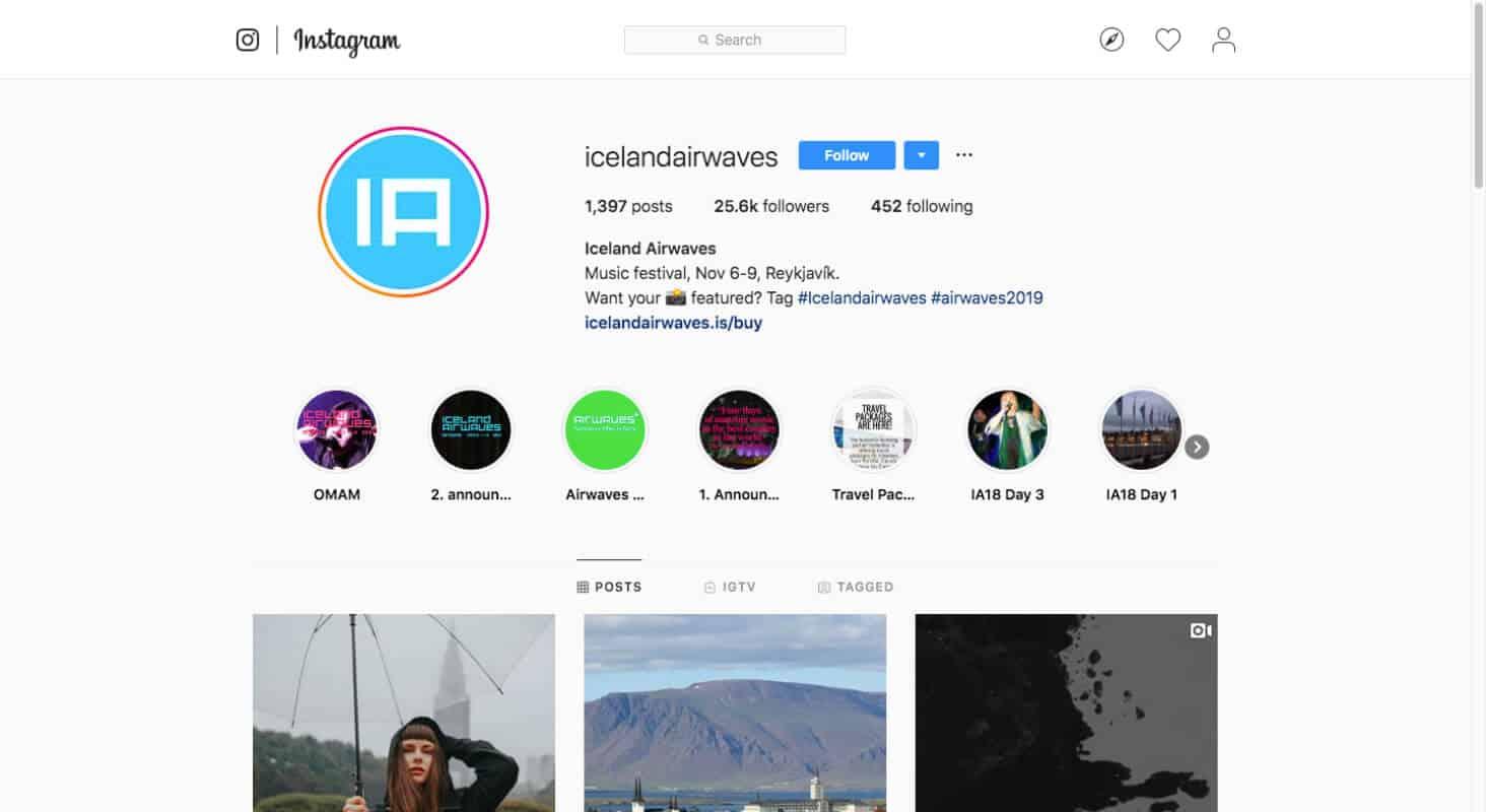 Iceland Airwaves Festival in Reykjavik Instagram and newsletter