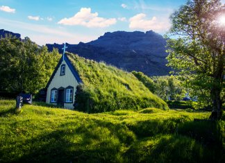 Turf churches are some of the prettiest churches in Iceland