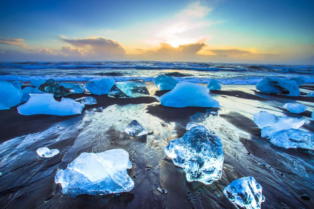 Iceland beaches Diamond Beach