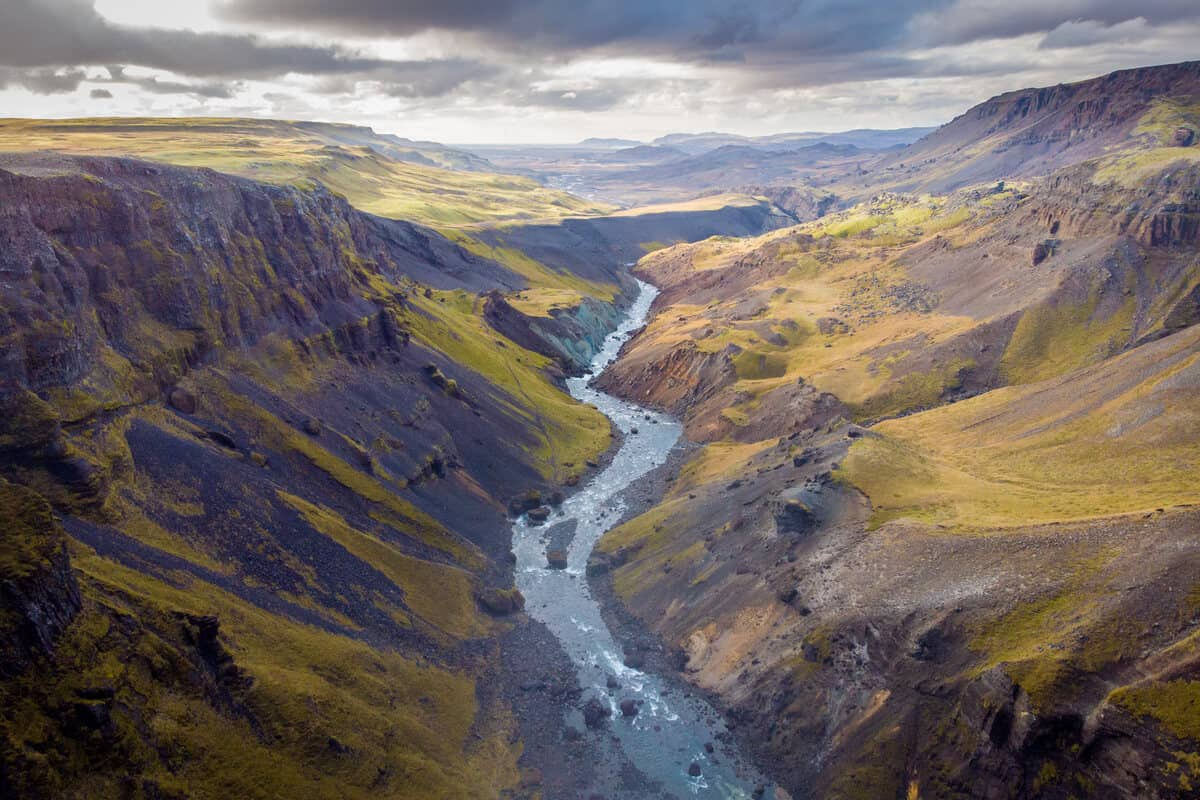 Haifoss waterfall valley Highlands